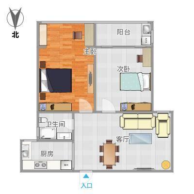 碧水华庭100方A3户型两室两厅