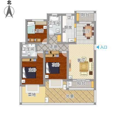 莲鼎苑125平方3室2厅2卫方案一