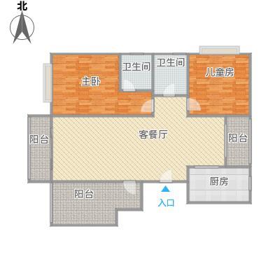 全景公寓C2户型改后平面图