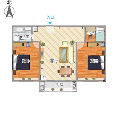绿岛豪苑90平米三阳户型装修图1