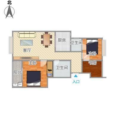 装修米兰诺贵都90平两房两厅D2户型