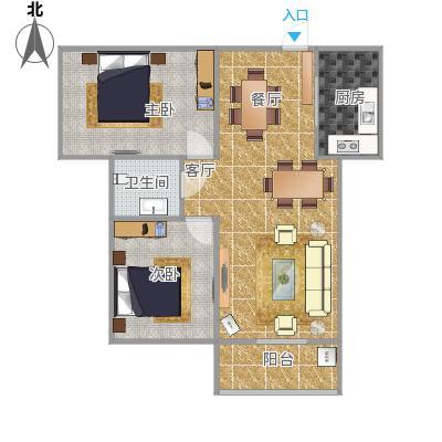 澜点家园两室两厅88平户型