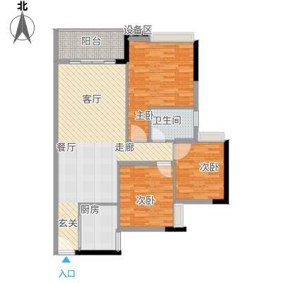 岭南雅苑100.76㎡2号楼1单元03户型3室2厅1卫1厨户型3室2厅1卫