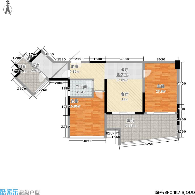 00㎡蝶式高层c3b户型98平米两房两厅户型2图片
