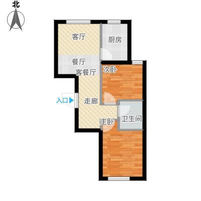 康泽佳苑E6户型2室1厅1卫1厨