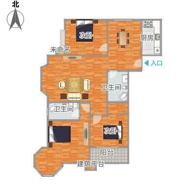 京润现代城G户型3室2卫1厨