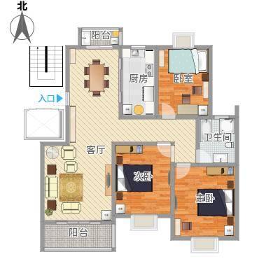 通刘花园123.01方03户型三室两厅