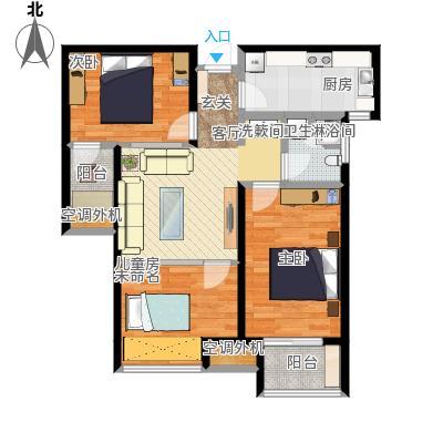 学府嘉园91.90㎡B户型2室2厅1卫