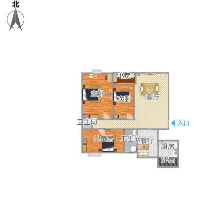 三室两厅两卫的户型图162平米
