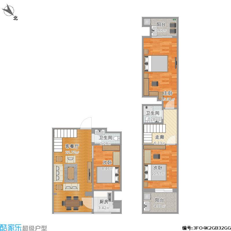 缘水岸1期1栋小复式3室1厅2卫1厨110.00㎡户型图图片