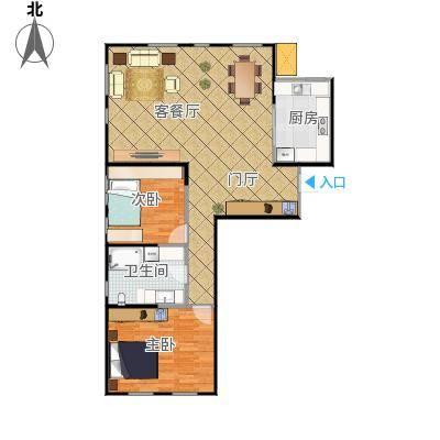 艺术家公寓121.75m01户型两室两厅
