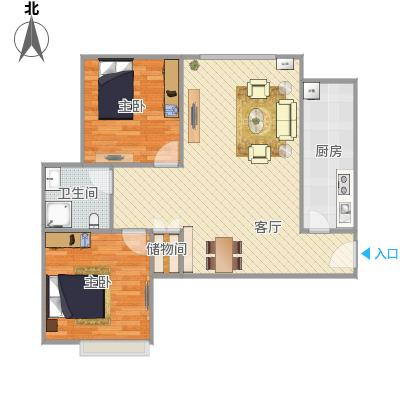 滨江帝景89方C户型两室两厅