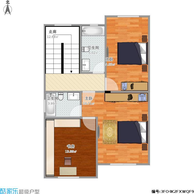农村自建民房三层-二层平面