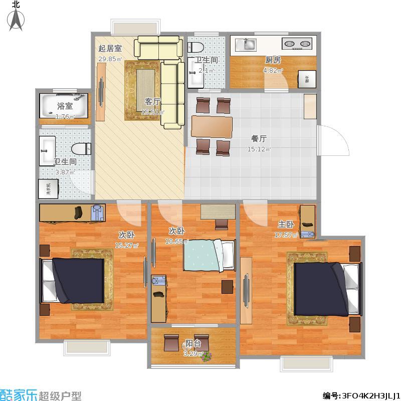 110平米三室两厅套房设计图 (800x800)-求一张11米长10宽110平方