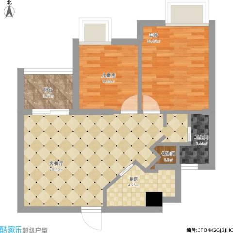 金桥水岸花园80平户型两室两厅