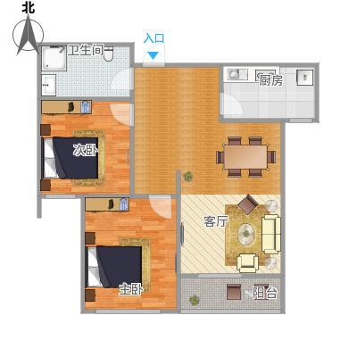 晨光花城B2户型2室1卫1厨