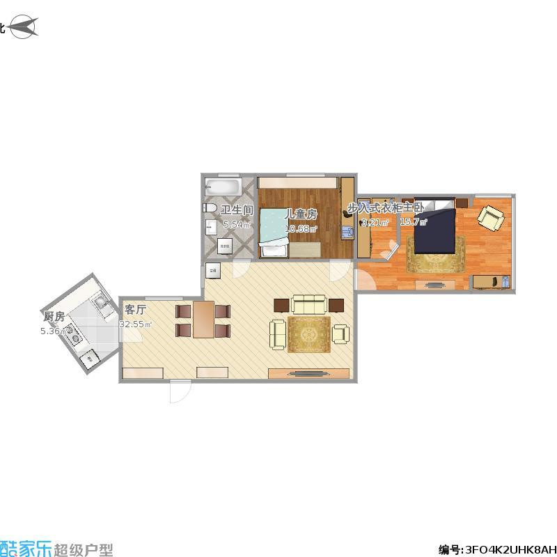 户型设计 中虹公寓的户型图  上海 水电路1321弄 套内面积:73.