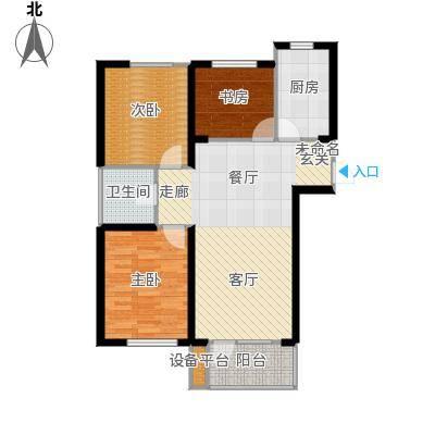 华府丹郡E2户型3室1卫1厨