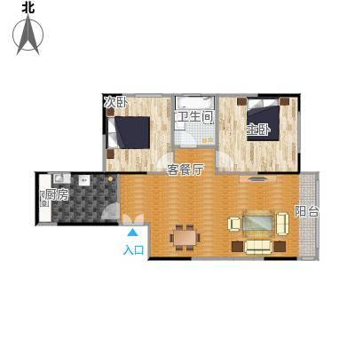 三园新城佳苑9881户型2室1厅1卫1厨