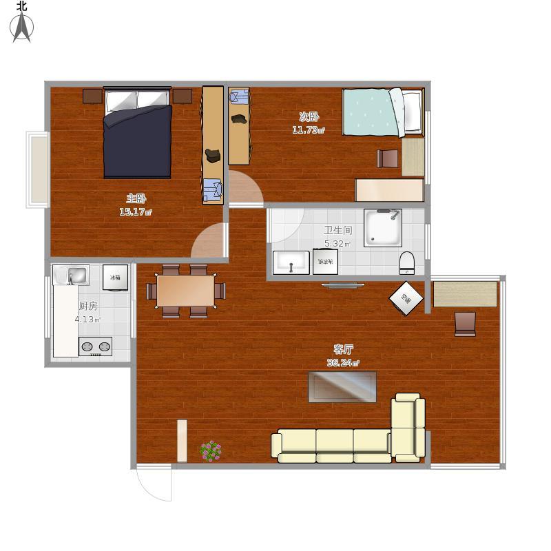 二室一厅一卫户型图大全