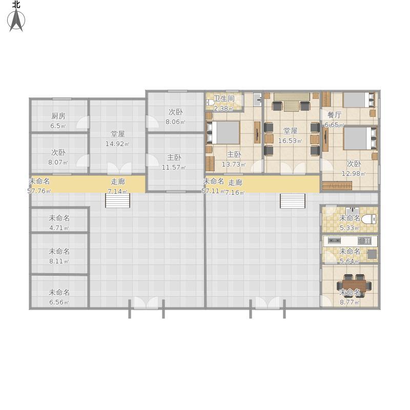 户型设计 田铺老家房屋户型平面图三  河南 信阳 未知小区 建筑面积