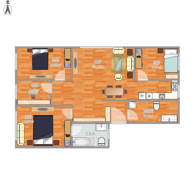 户型设计 平面设计图1  浙江 杭州 秋丰联建房 套内面积:80.