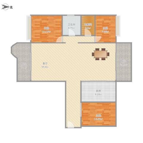 雍逸廷汇星台(B区)三房126平的户型图