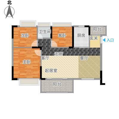 德洲城94.01㎡三期12栋二单元01户型3室2厅1卫户型3室2厅1卫