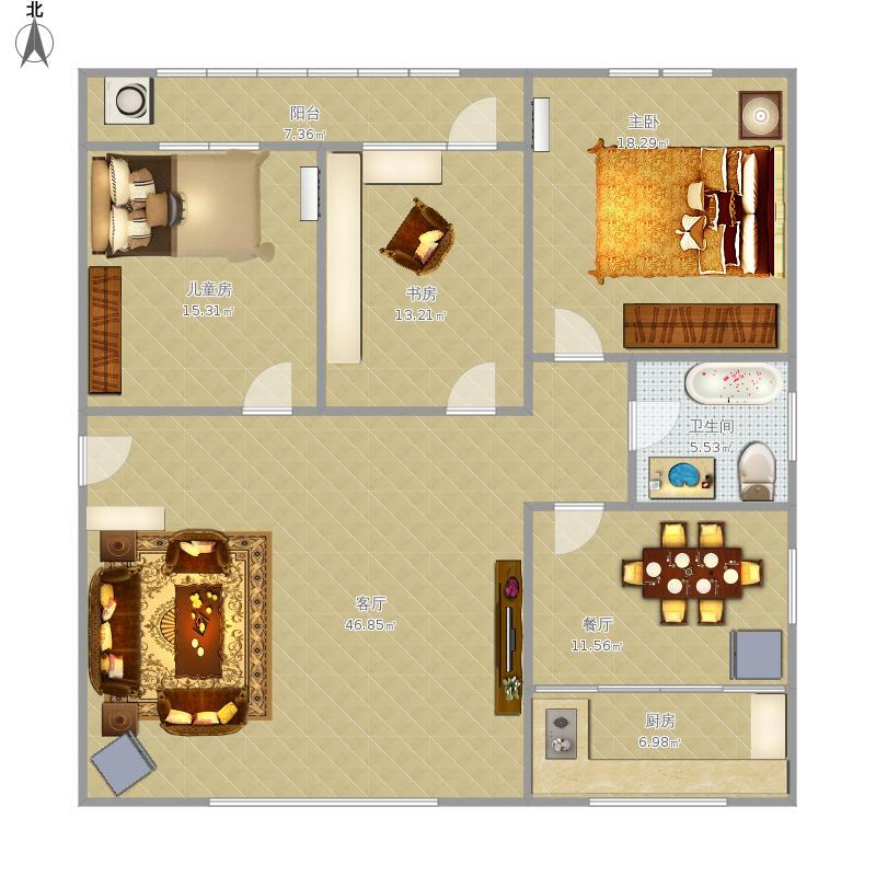 一厅三室设计图分享展示