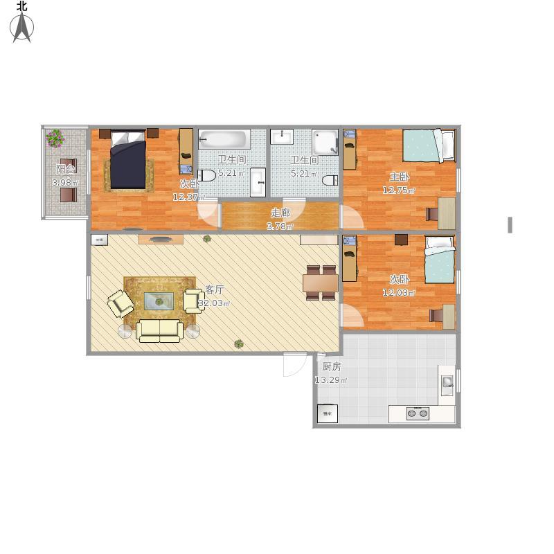 亚林西b2户型三室一厅