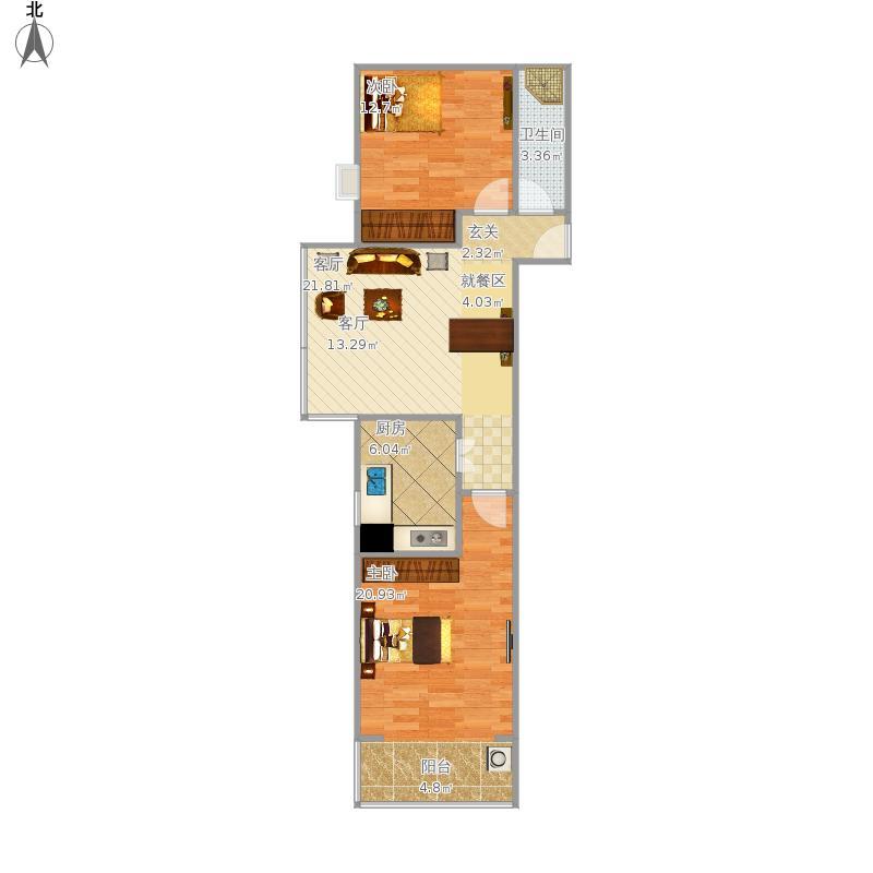 户型设计 启程苑80平两室一厅  河北 石家庄 启程苑 套内面积:64.