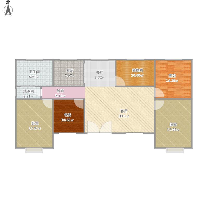 户型设计 平房一层 - 副本  山西 运城 未知小区 套内面积:137.
