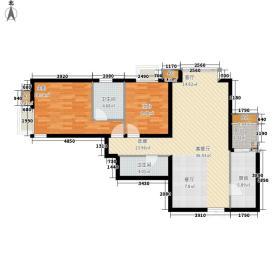 城市月光105.39㎡E户型二室二厅二卫户型