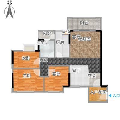 德洲城94.00㎡经典三房3室2厅1卫1厨户型3室2厅1卫