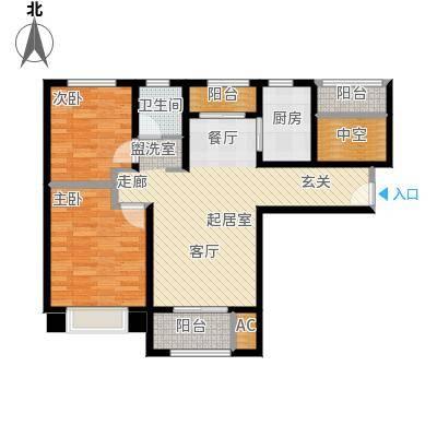 中南世纪城100.31㎡户型图户型2室2厅1卫