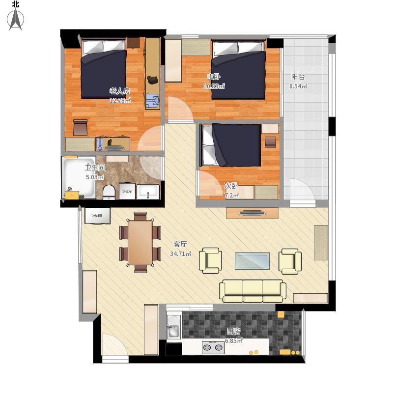 100平米三室一厅一卫一厨设计图 - bing images图片