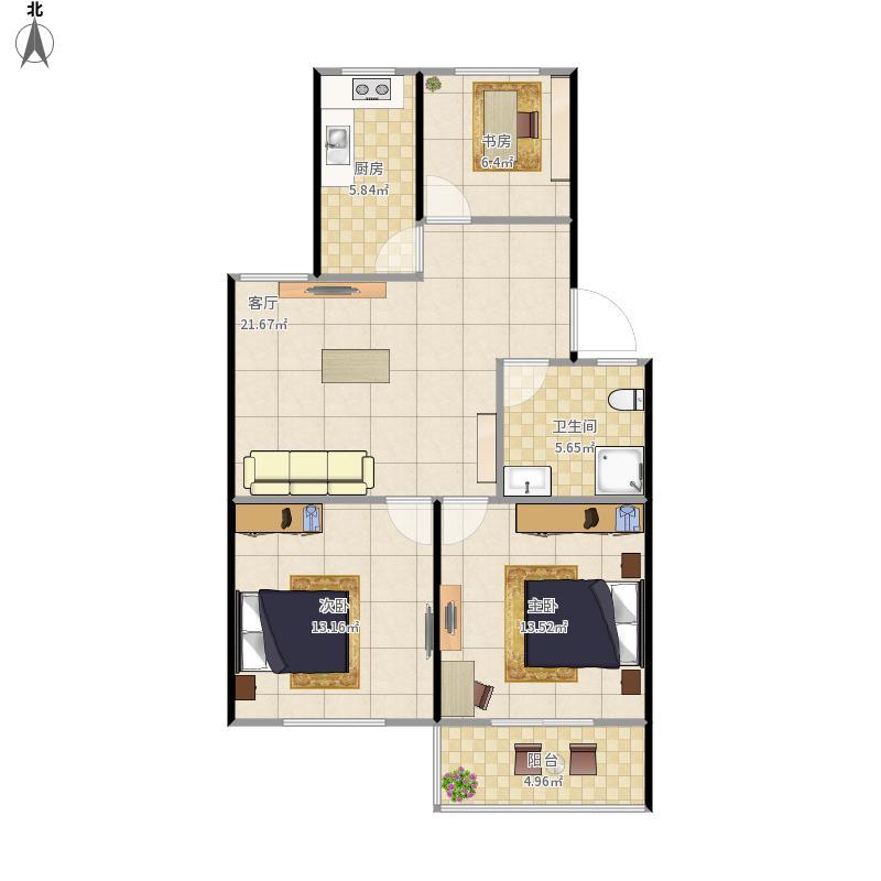 北辰家园90平米三室一厅一厨一卫户型图大全,装修户型