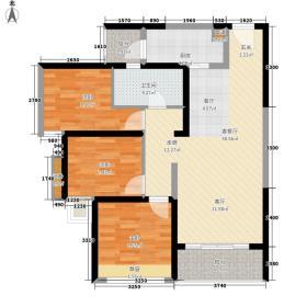 笔架山公馆84.00㎡1栋B06户型3室2厅