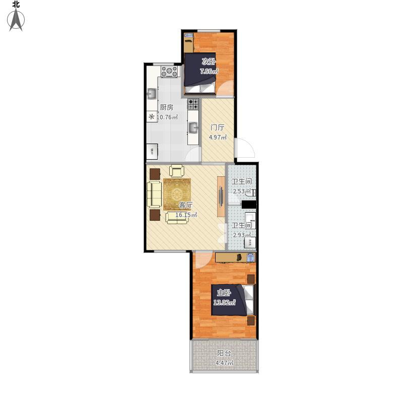 平面图 户型图 两室一厅