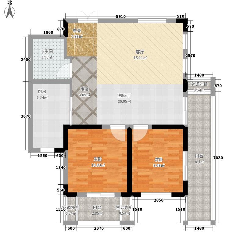 万科青岛小镇88.00㎡25期洋房y-2户型2室2厅