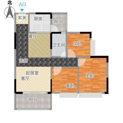 德洲城89.00㎡16栋2单元三房两厅一卫户型3室2厅1卫