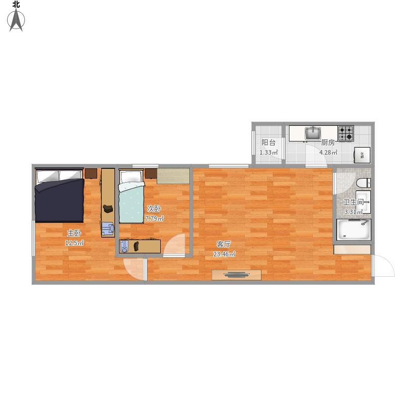 户型设计 弘善家园两室一厅  北京 弘善家园 套内面积:52.