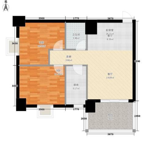 御笔华府4#楼西单元8号房2室户型