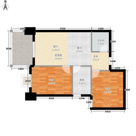 御笔华府4#楼西单元10号房2室户型