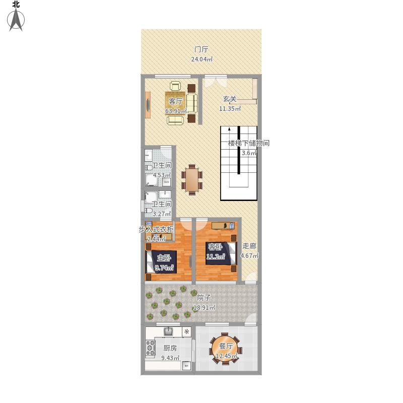 三层楼1楼5米u型楼梯