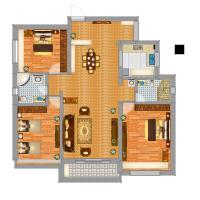 山东省 青岛市 城阳区 品字楼中户三室两厅双卫120平方修改后户型图图片
