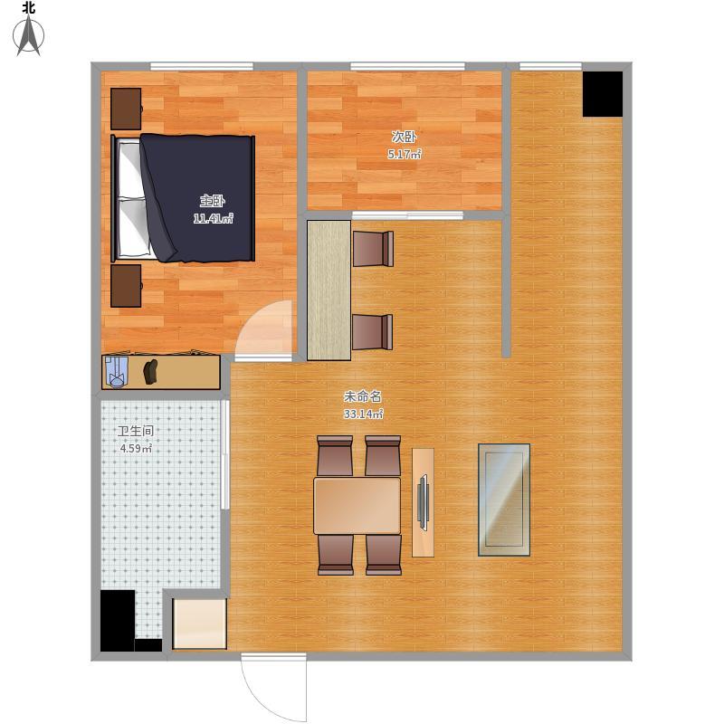 户型设计 83方两室一厅  吉林 吉林 圣博完美空间 套内面积:54.