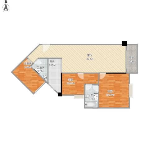 百德大厦04户型三房两厅方案装修方案1