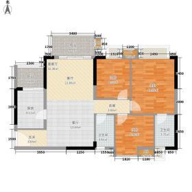 美林轩逸时光91.35㎡A8号楼2-13层06单元3室户型