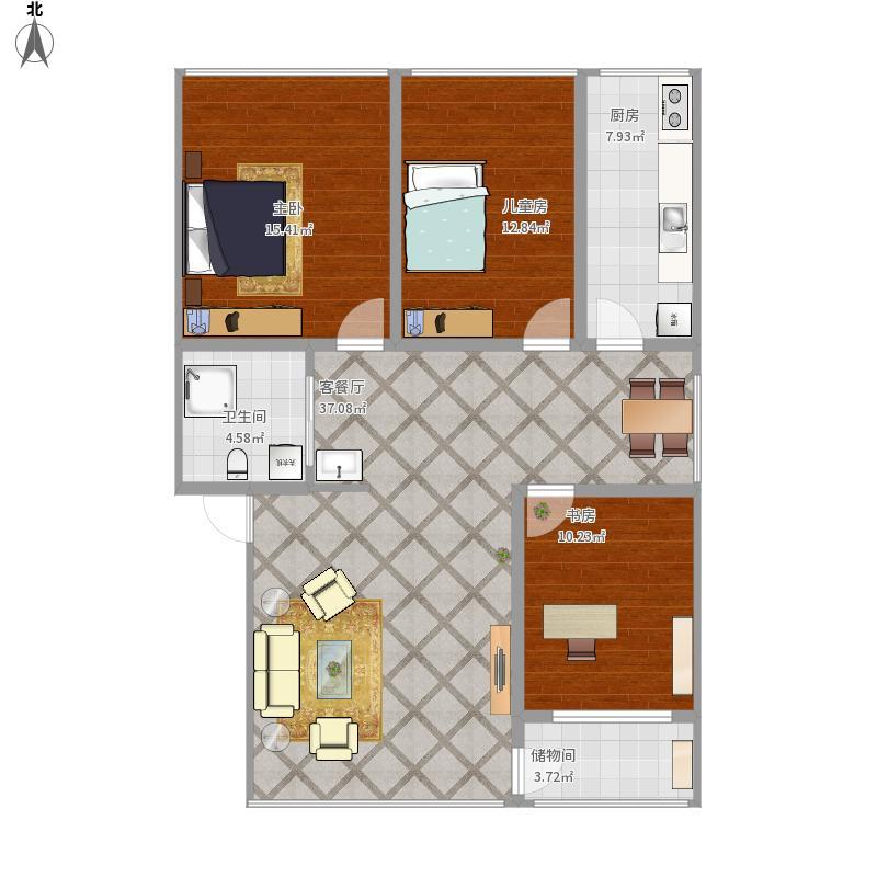 户型设计 115三室两厅 - 副本  新疆 乌鲁木齐 新民路国税局家属院 建